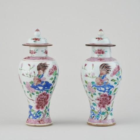 A PAIR OF CHINESE FAMILLE ROSE VASES AND COVERS, Qianlong (1736 – 1795)