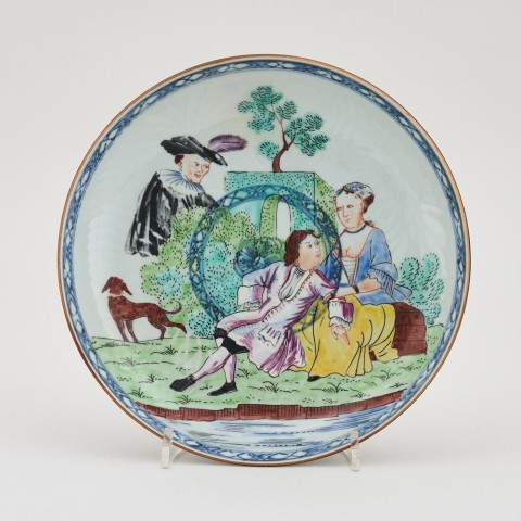 A CHINESE DUTCH DECORATED PLATE, Qianlong (1736 - 1795)