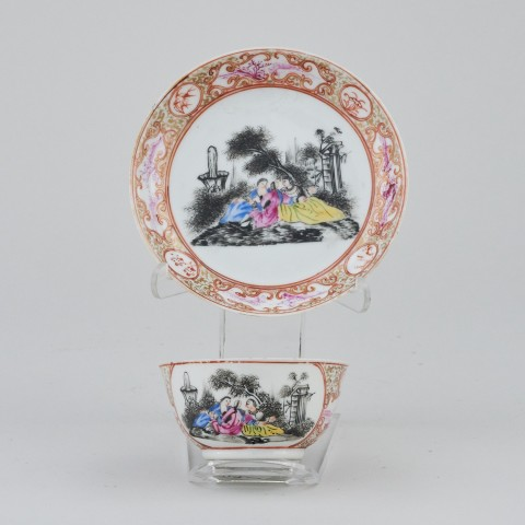 A CHINESE FAMILLE ROSE CUP AND SAUCER, Qianlong (1736 - 1795)