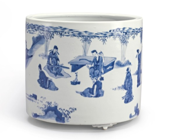 A LARGE BLUE AND WHITE 'SEVEN SAGES' BRUSHPOT, Kangxi (1662 - 1722)