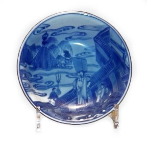 A SMALL FINE CHINESE BLUE & WHITE DISH, Transitional (1650-1675)