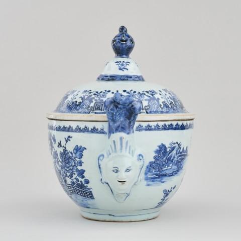 A NANKIN 'MASK-HANDLE' TUREEN AND COVER, Qianlong (1736 – 1795)
