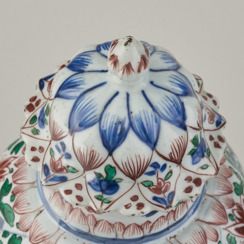 A Chinese famille verte Vase and Cover, 1662-1722