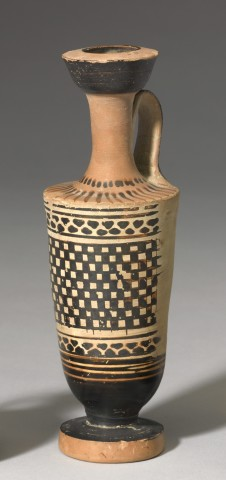 Greek black-figure lekythos decorated with a chequerboard