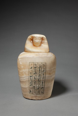 Egyptian canopic jar for Henat, Late Dynastic Period, 26th Dynasty, c.664-525 BC