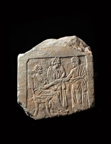 Greek marble grave stele fragment, 4th century BC