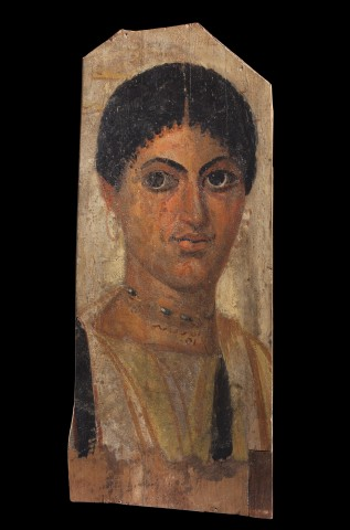 An Egyptian tempera and encaustic Fayum panel portrait of a young woman