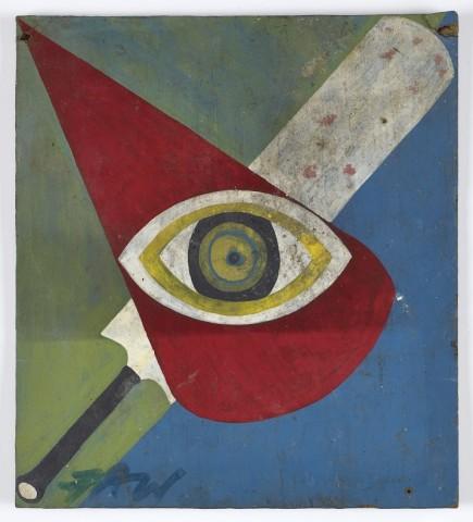 Frank Walter, Heraldic Shield with Eye and Cricket Bat