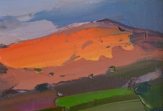 Sarah Carvell, Haul yn Machlud, yn Goleuo Mynydd y Gaer / Sunset. Last Light over Mynydd y Gaer