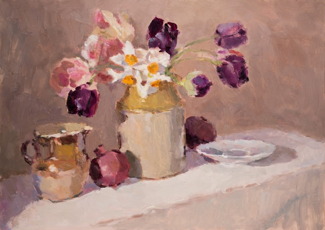 Lynne Cartlidge, Queen of the Night Tulips Still Life