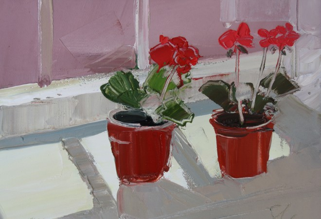 Sarah Carvell, Geranium Plants in Sunlight