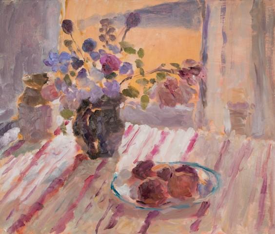 Lynne Cartlidge, Window, Summer Flowers & Peaches