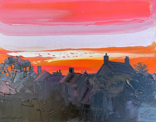 Sarah Carvell, Orange Sunset and Rooftops