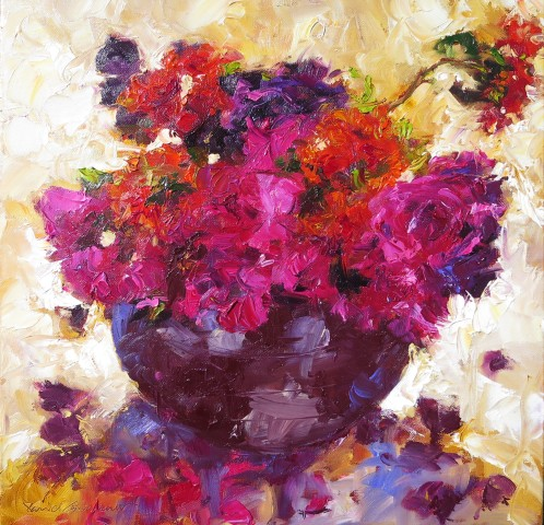 David Grosvenor, Red Roses, Geraniums and Lychnis