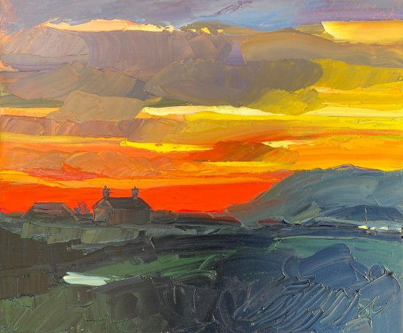 Sarah Carvell, Orange Sunset, Penllyn
