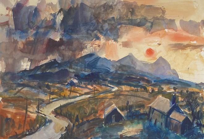 Gareth Parry, Hen Ffermdy a'r Eifl, Machlud / Old Farmhouse, The Eifl, Sunset