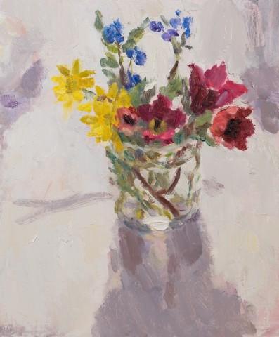Lynne Cartlidge, Spring Flowers in a Glass