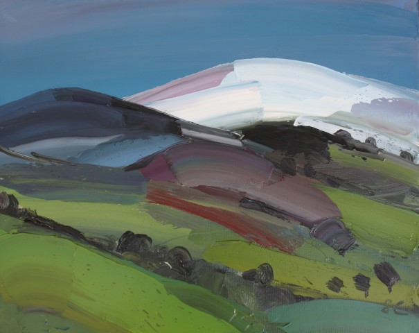 Sarah Carvell, Two Hills, distant Snow and Green