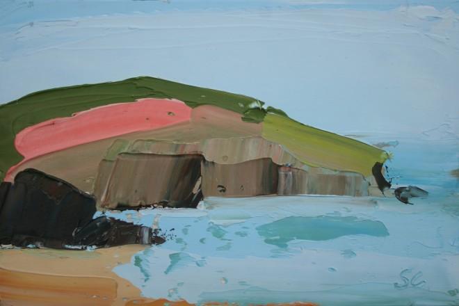 Sarah Carvell, Creigiau Pinc, Y Gwanwyn / Pink Cliff, Spring Tide
