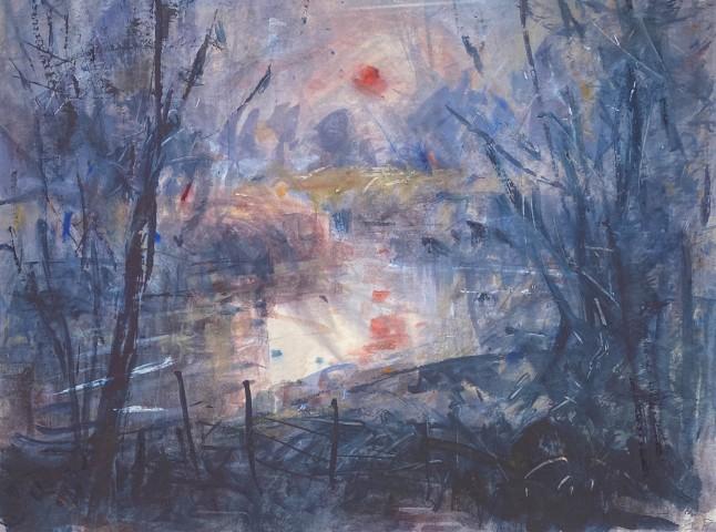 Gareth Parry, Yr Afon, Machlud drwy Niwl / The River, Sunset through Mist