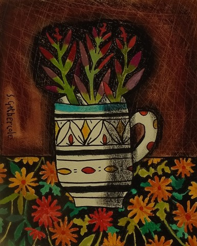 Susan Gathercole, Small Plant on Japanese Silk