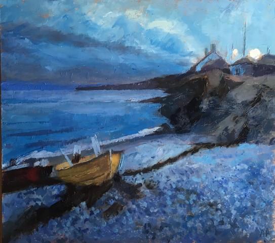 Anne Aspinall, Moelfre, Boats at Dusk