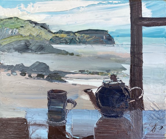 Sarah Carvell, Darkening Beach View with Teapot and Mug