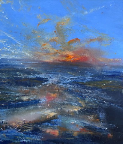 Iwan Gwyn Parry, Estuary High Tide with Distant Sunset