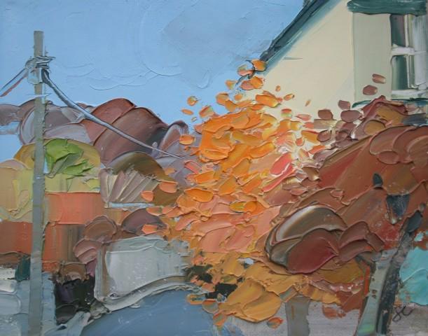 Sarah Carvell, Coed Ffawydd ar Stryd y Dyffryn / Beech Trees on Vale Street