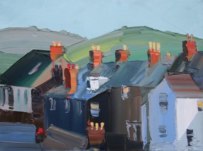 Sarah Carvell, Golygfa Cefn Adeiladau Stryd y Parc / Park Street Roofs and Chimneys
