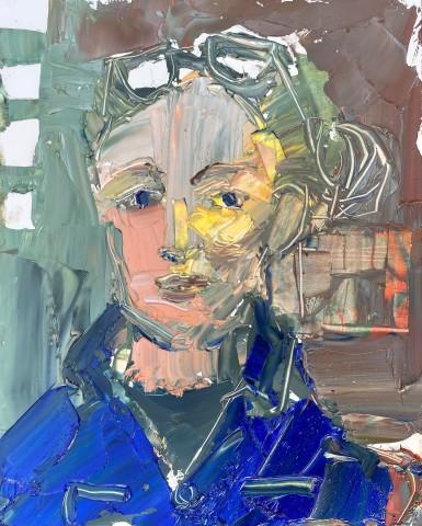 Sarah Carvell, Self Portrait in Blue