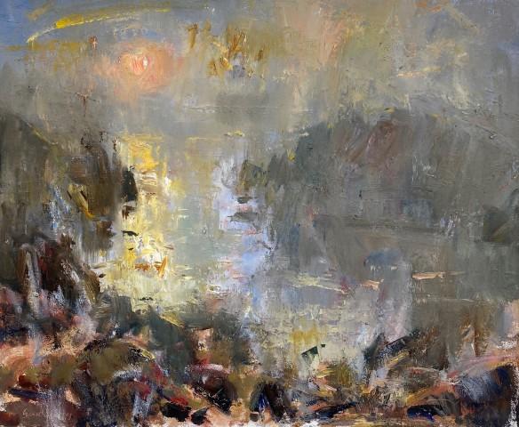 Gareth Parry, Bae Bach Tawel, Haul drwy Niwl / Sheltered Little Bay, Sun through Mist