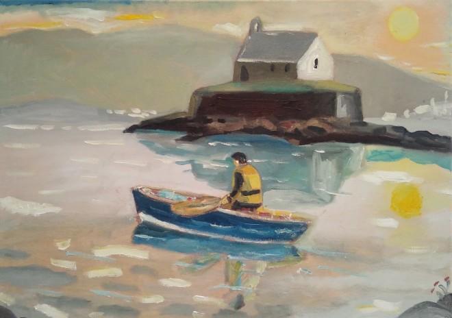 Rowing near St. Cwyfans