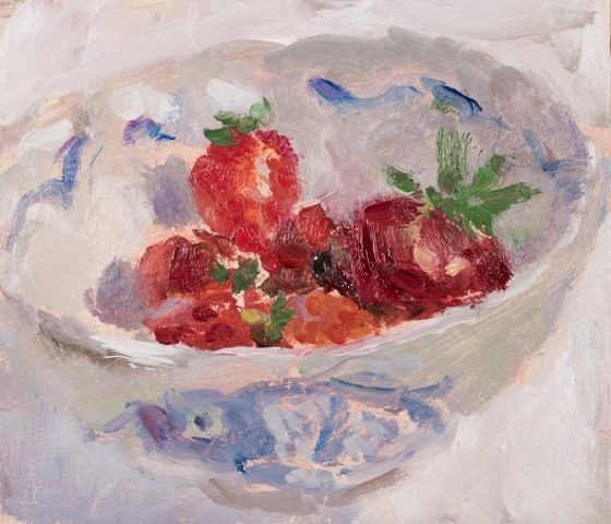 Lynne Cartlidge, Six Strawberries in a Chinese Bowl