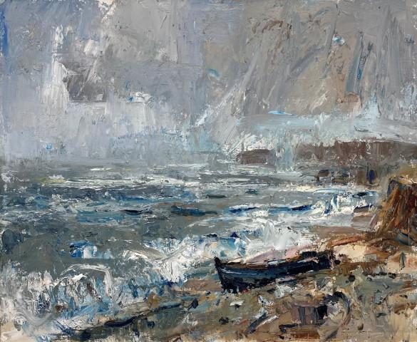 Gareth Parry, Môr Llwyd a Hen Gwch, Pen Llŷn / Grey Sea and Old Boat, Llŷn Peninsula