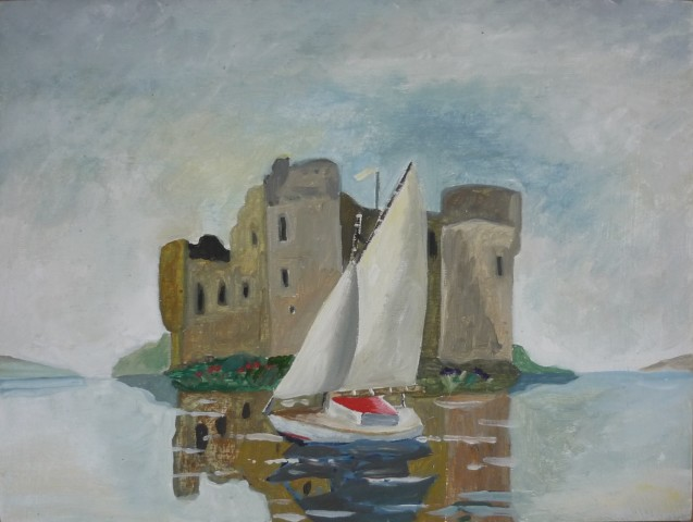 Yacht in front of a Castle