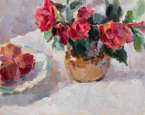 Lynne Cartlidge, Camellias with a Plate of Plums