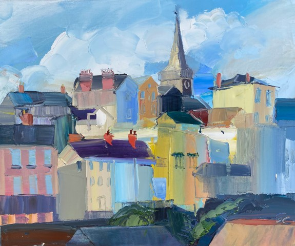 Sarah Carvell, Tenby Houses, Blustery Day