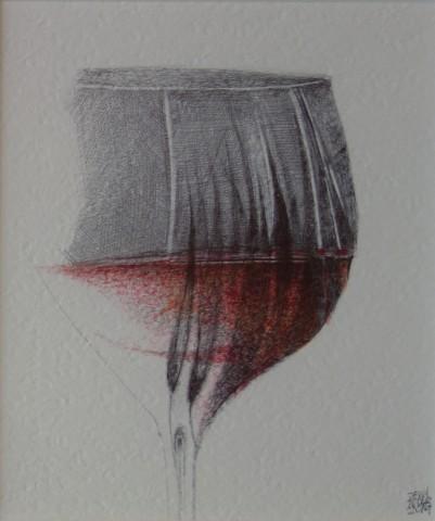 Dewi Tudur, Gwydryn o Chianti gyda Choed / A Glass of Chianti with Trees