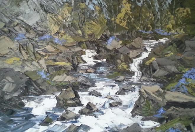 Martin Llewellyn, Bluebells and Waterfall, near Snowdonia