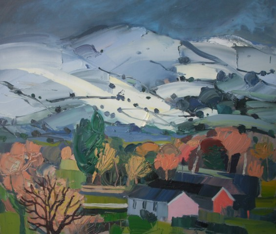 Sarah Carvell, Farm beneath Snow covered Clwydians
