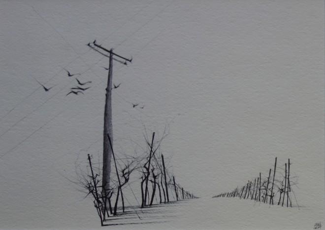 Dewi Tudur, Gwinllan mewn Eira / Vineyard in Snow