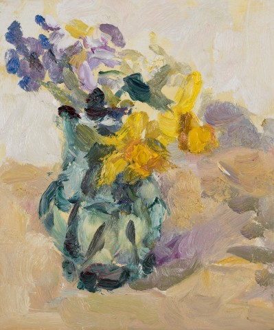 Lynne Cartlidge, Spring Flowers in a Green Glass Jug