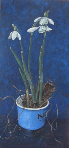 Kim Dewsbury, Snowdrops in a Blue Paper Cup