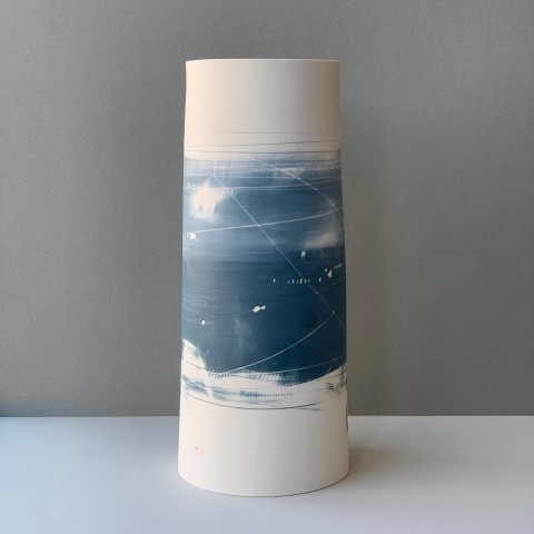 Ali Tomlin, Large Cylinder Vase - Two Blues