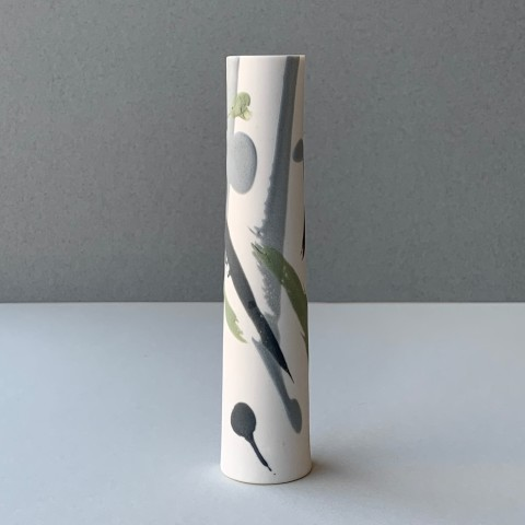 Ali Tomlin, Single Stem - Grey and Green Splash