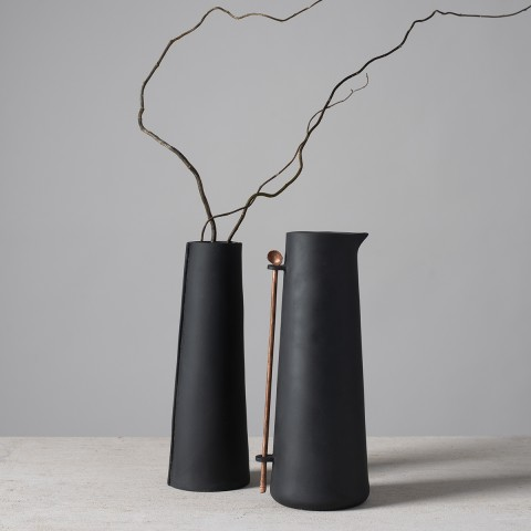 Lynne Rossington, Black Porcelain Conical Jug with Copper Spoon