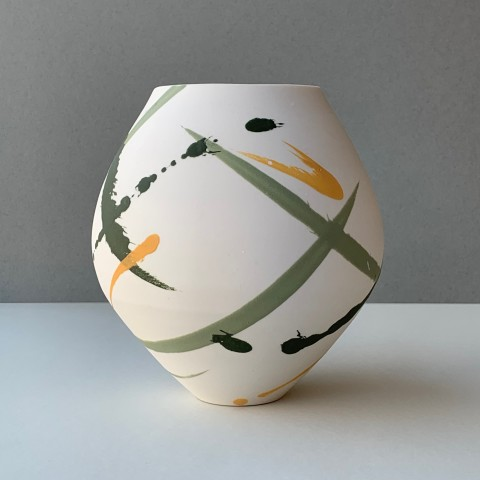 Oval Vase - Green and yellow
