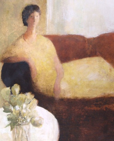 David Brayne RWS, Red Sofa, Yellow Flowers