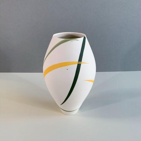 Ali Tomlin, AT16 - Large Oval Vase, Yellow and Green Splash